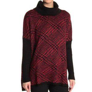 JOSEPH A NWOT Printed Cowl Neck Knit Sweater Black